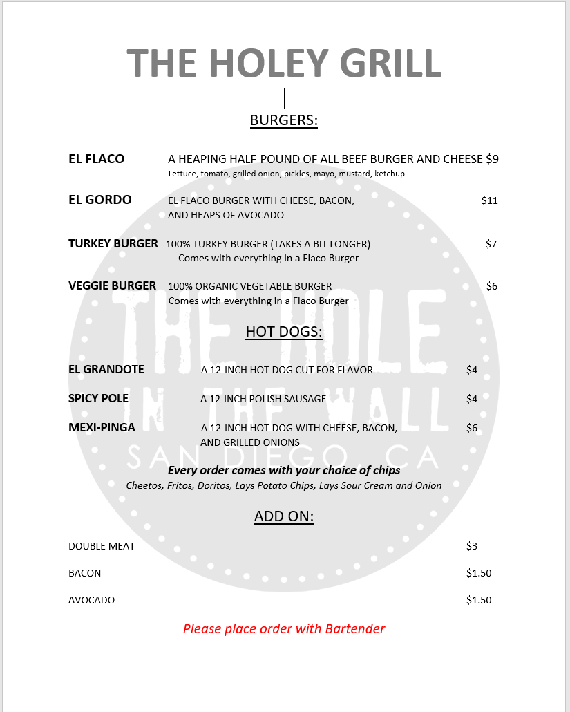 Sept. 2020 Holey Grill menu